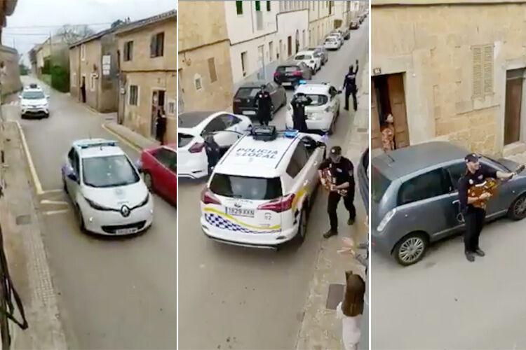 روحیه دادن جالب پلیس های اسپانیایی به مردم