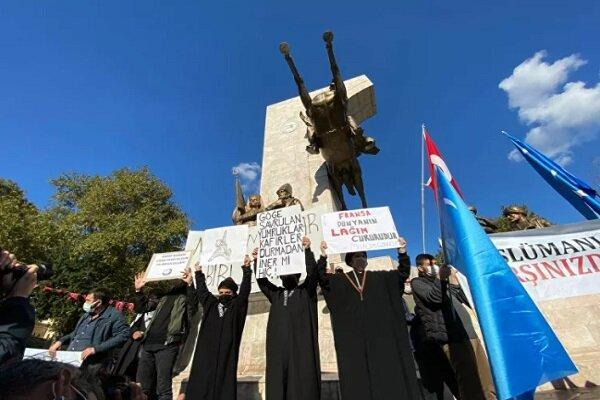 برگزاری تظاهرات ضد فرانسوی در استانبول ترکیه